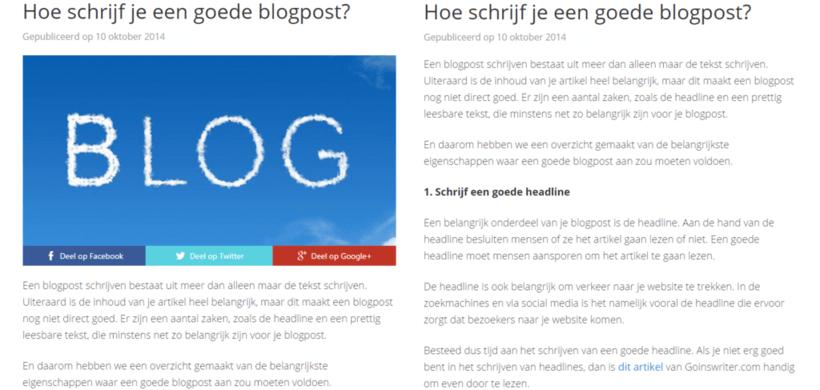 Blogpost met of zonder afbeelding