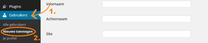 WordPress dashboard gebruikers