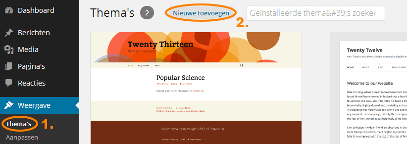Gratis WordPress theme installeren
