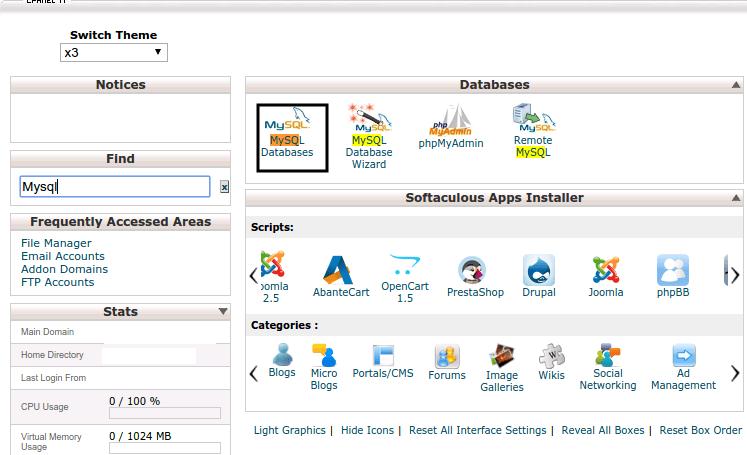 MySQL database aanmaken in cPanel