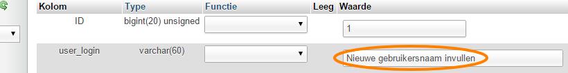Verander user_login